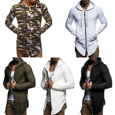 Men Long Sleeve Hooded Cardigan Slim Fit Sweatshirt Cloak Coat Jacket Sweater