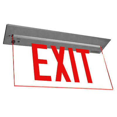 MADE  USA Red LED Emergency Exit Light Sign Ceiling Edge Lit Alum. Dual FACE