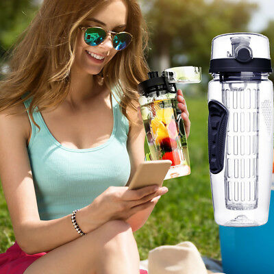32oz Sports Fruit Infusing Infuser Water Lemon Juice Detox Health Bottle + Brush