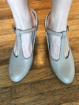 Tan Capezio T-strap Jazz Character Theater Shoes, Heels, Size 8