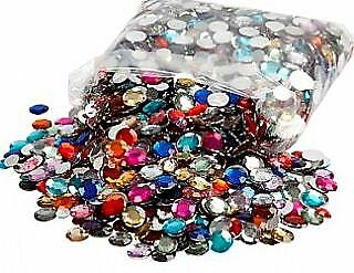 3600 Assorted Round Rhinestones - Bulk Buy Craft Jewels