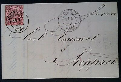 SCARCE 1869 Germany (Northern Dist. Post) Folded Invoice ties 1 Gr red stamp