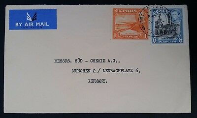 c. 1948 Cyprus Airmail Cover ties 2 George VI stamps canc Larnaca to Germany