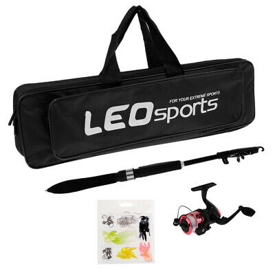 Telescopic Fishing Rod and Reel Combo Spinning Full Kit with Hooks Lures Bag