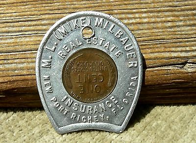ca 1957 NEW PORT RICHEY FLORIDA FL (PASCO CO) REAL ESTATE ENCASED LINCOLN PENNY