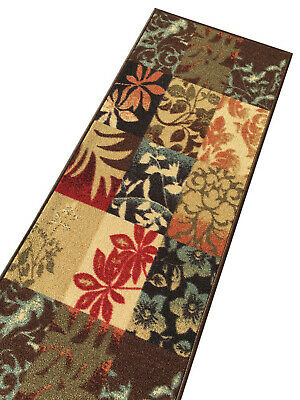 Custom Size Stair Hallway Runner Rug Rubber Back Non Skid Brown Floral Boxes