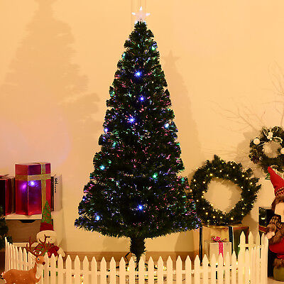7FT Pre-lit LED Optical Fiber Christmas Tree Artificial Holiday Décor with Stand