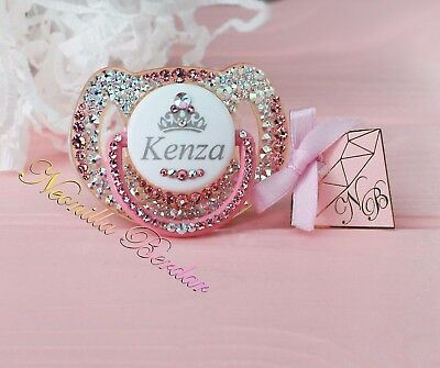 Avent Personalized pacifier with Swarovski Crystals.Bling dummy. Bling pacifier
