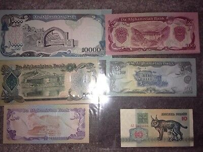 Five Beautiful Afghanis Notes Da Afghanistan Bank + 1 Russian 1992 coins bill