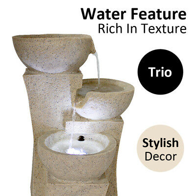 Electric Tabletop Water Feature Trio Miniature Fountain Home Garden Decoration