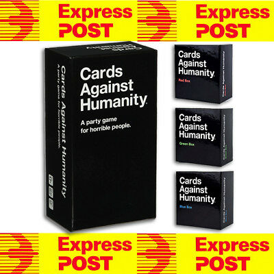 Cards Against Humanity Australian Edition + Red Blue Green Box Expansions