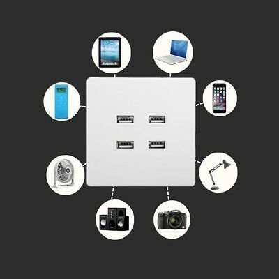 1pc 220V to 5V 4Hole USB Function Phone Charging Wall Switch Socket Outlet Panel