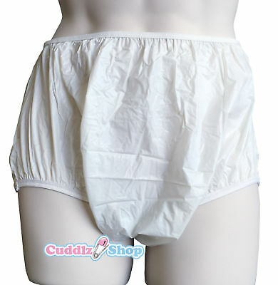 Cuddlz Adult Milky White Pull Up Plastic Pants PVC Incontinence Briefs