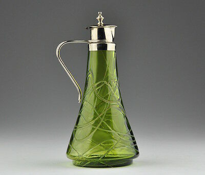 Art Nouveau Jug green Glass pitcher jug, metal lid,