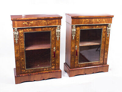 Antique Pair Burr Walnut Marquetry Pier Cabinets c.1870