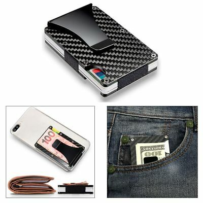 Slim Metal Carbon Fiber Credit Card Holder RFID Blocking Wallet Money Clip Purse