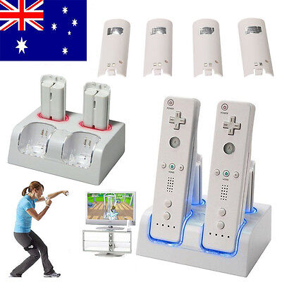 4 x Dual Charging Dock Charger + Rechargeable Battery For WII Remote Controller