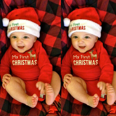 Christmas Newborn Infant Baby Boys Girls Romper Bodysuit Jumpsuit Clothes Outfit