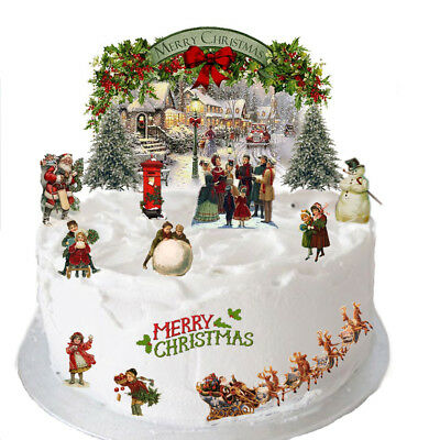 Vintage Victorian Christmas Xmas Stand Up Scene Edible Wafer Paper Cake Topper