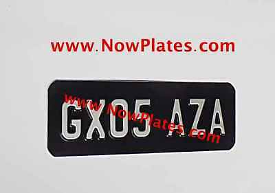 "Small Motorcycle Plate Black & Silver or Yellow & Black (Pressed Plate) 9"" X 3"""