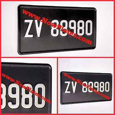 "JAP / American Number Plate x1 (Pressed Plate) 12""ins X 6""ins Black and Silver"