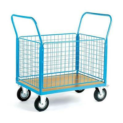 Heavy Duty Platform Truck With 4 Mesh Sides - 500kg Warehouse Picking Trolley