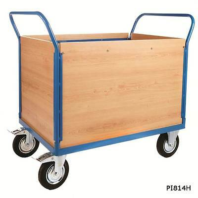 Heavy Duty Platform Truck With 4 Veneer Sides - 500kg Warehouse Picking Trolley