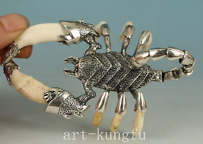 Chinese Coper Inlay Tooth Handmade Carved Scorpion Statue Figure