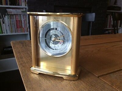 Mid Century Vintage Howard Miller Gold Toned World Mantel Shelf Table Clock
