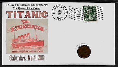 1912 Titanic with 104 year old stamp and coin on a Collector's Envelope *A581