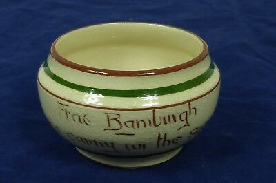 A Torquay Pottery  Motto Ware Sugar Bowl Thistle Frae Bamburgh