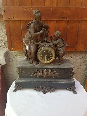 ANCIENNE PENDULE,REGULE,NAPOLEON III,XIXeme,GARNITURE,HORLOGE,PATTE DE LION,