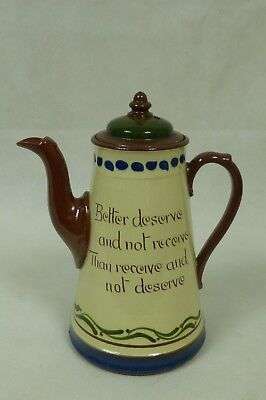 A Torquay  Motto Ware Coffee Pot - Decorative Shop Tea Coffee Room