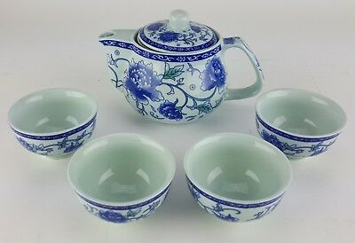 5pc Ceramic BLUE FLOWER Chinese small Tea Set Teapot strainer 4 Cups in gift box