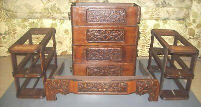 Antique White Sewing Machine Drawers Very Ornate Oak Leaf Acorn Carving