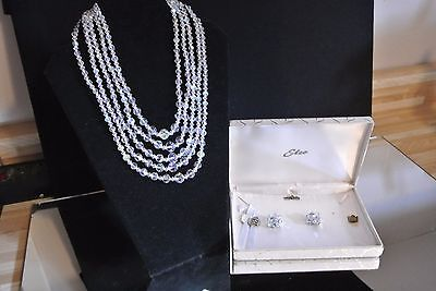 Vintage 5 Strand Crystal Necklace and Earrings Set in Box