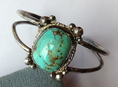 Vintage Pawn Navajo Native American Sterling Silver Turquoise Cuff Bracelet