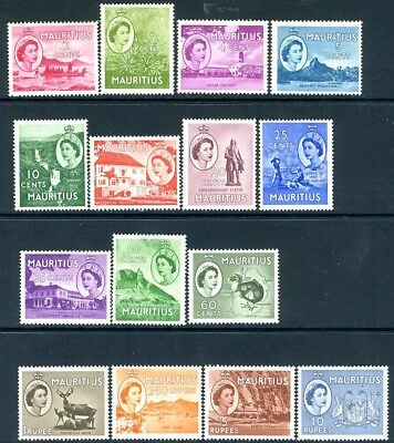 MAURITIUS-1953-58 Set to 10r  Sg 293-306 MOUNTED MINT V18854