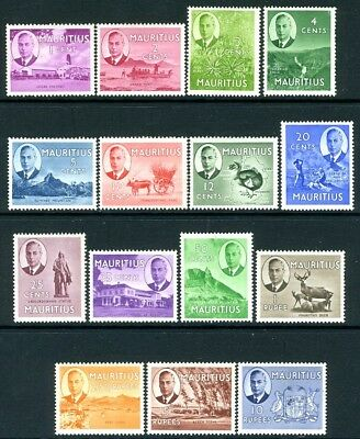 MAURITIUS-1950 Set to 10r  Sg 276-290 LIGHTLY MOUNTED MINT V18855