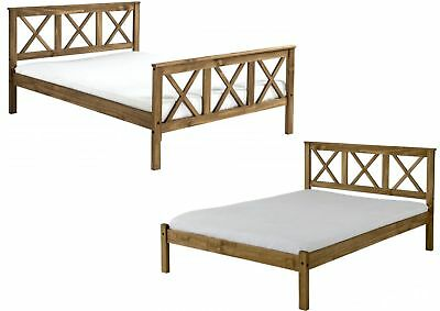 Salvador 4ft6 Double Bed Distressed Waxed Pine - High Foot or Low Foot End