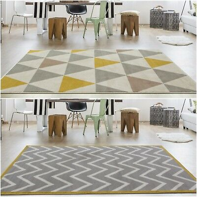 Grey Silver Ochre Yellow Mustard Cheap Rugs Small Large Geometric Rug New Room