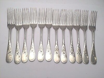Antique Lily Engraved by Whiting Div of Gorham Sterling Silver set of 12 Forks