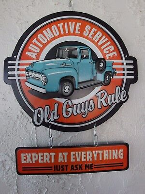 Old Guys Rule Automotive Service Metal Sign Man Cave Garage Chevy Ford MoparS243