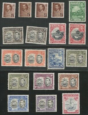 Grenada sg 152/163f + some shade and perf varieties mounted mint cat £95