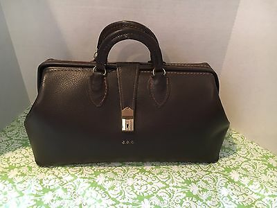 Vintage Schell Brown Leather Doctor Bag Initials READ