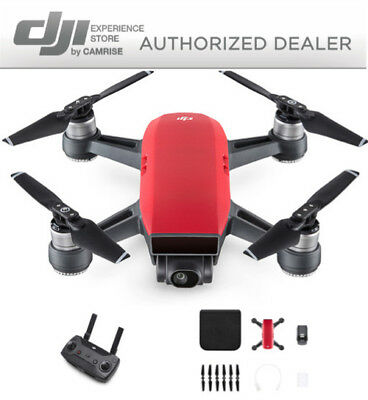 DJI Spark Drone Quadcopter Red and DJI Remote Controller
