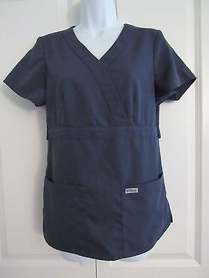 Grey's Anatomy~Womens Gray Short Sleeve Scrub Shirt Top~Style #4153  Size Small