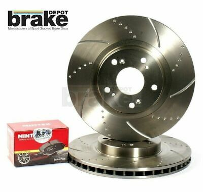 for SUBARU IMPREZA WRX P1 TURBO FRONT DRILLED GROOVED BRAKE DISCS /& MINTEX PADS