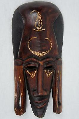 """Authentic 14"""" Hand Carved Wood African Tribal Tradition Wall Hanging Mask Kenya"""