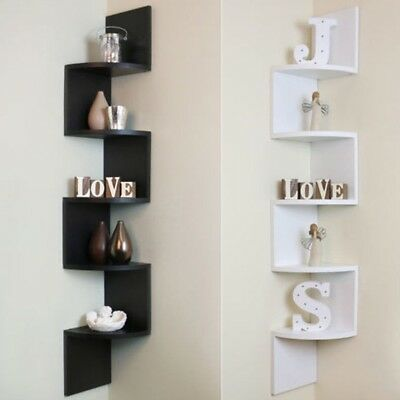 2 / 5 Tier Corner Shelf Floating Wall Shelves Storage Display Books Home Decor